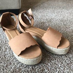 {Bamboo} Scallop Espadrille Tan Platform Sandal